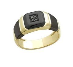 Алмаз Клуб Мужское кольцо с черным бриллиантом