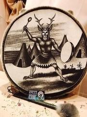 Аркан Шаманский Бубен из шкуры Байкальской Нерпы с рисунком