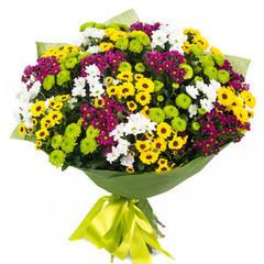 Букетик 66 Букет из разноцветных кустовых хризантем