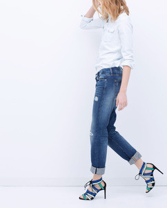 ZARA Комбинированные босоножки на каблуке - фото 3