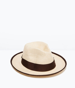 ZARA Соломенная шляпа с большими полями - фото 1