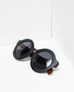 ZARA Очки в круглой оправе с дужками с отделкой под черепаху - фото 4