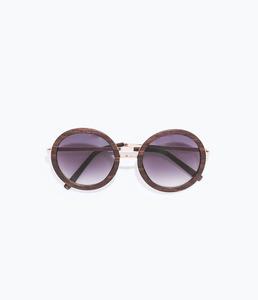 ZARA Солнцезащитные очки в деревянной оправе - фото 4