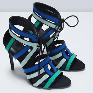 ZARA Комбинированные босоножки на каблуке - фото 6