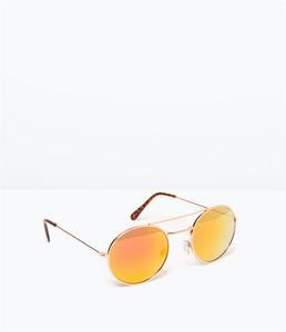 ZARA Солнцезащитные очки со светоотражающими линзами розового цвета - фото 1