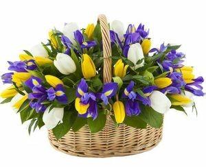 Букетик 66 Корзина цветов с Тюльпанами и Ирисами - фото 1