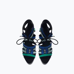 ZARA Комбинированные босоножки на каблуке - фото 5