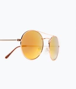 ZARA Солнцезащитные очки со светоотражающими линзами розового цвета - фото 3