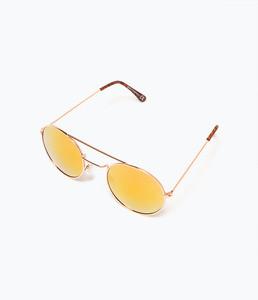 ZARA Солнцезащитные очки со светоотражающими линзами розового цвета - фото 2