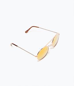 ZARA Солнцезащитные очки со светоотражающими линзами розового цвета - фото 4