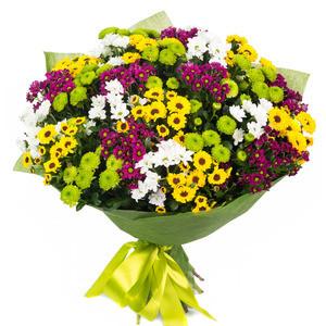 Букетик 66 Букет из разноцветных кустовых хризантем - фото 1