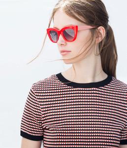 ZARA Солнцезащитные очки в красно-коралловой оправе - фото 4